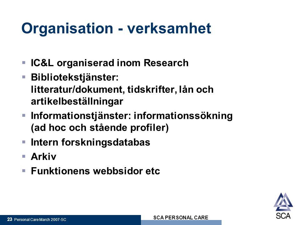 Organisation - verksamhet