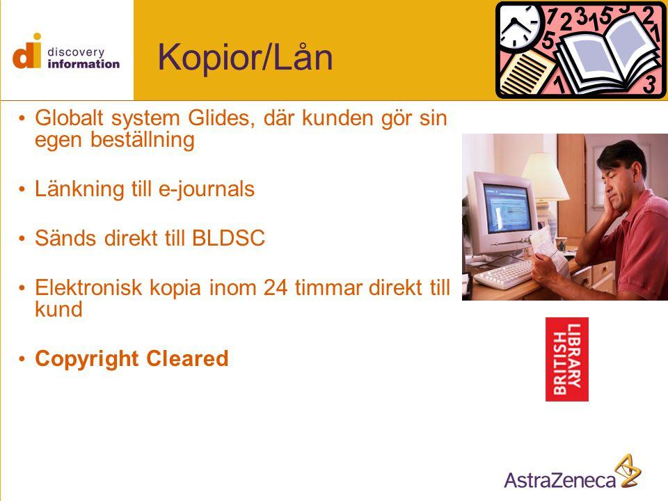 Kopior/Lån Globalt system Glides, där kunden gör sin egen beställning