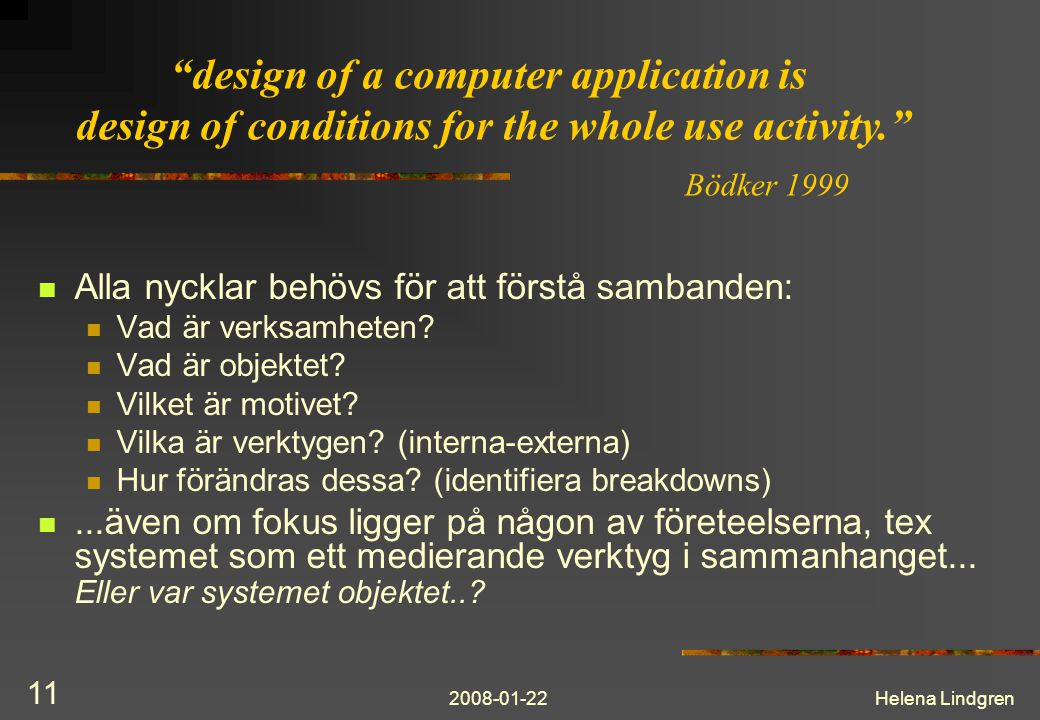 design of a computer application is