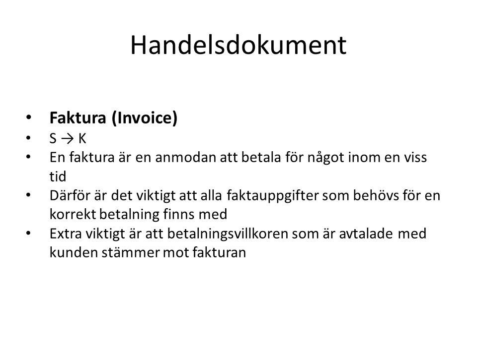 Handelsdokument Faktura (Invoice) S → K