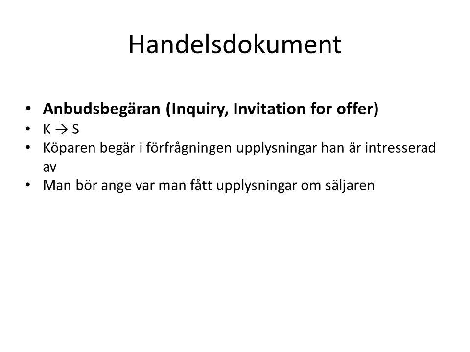 Handelsdokument Anbudsbegäran (Inquiry, Invitation for offer) K → S