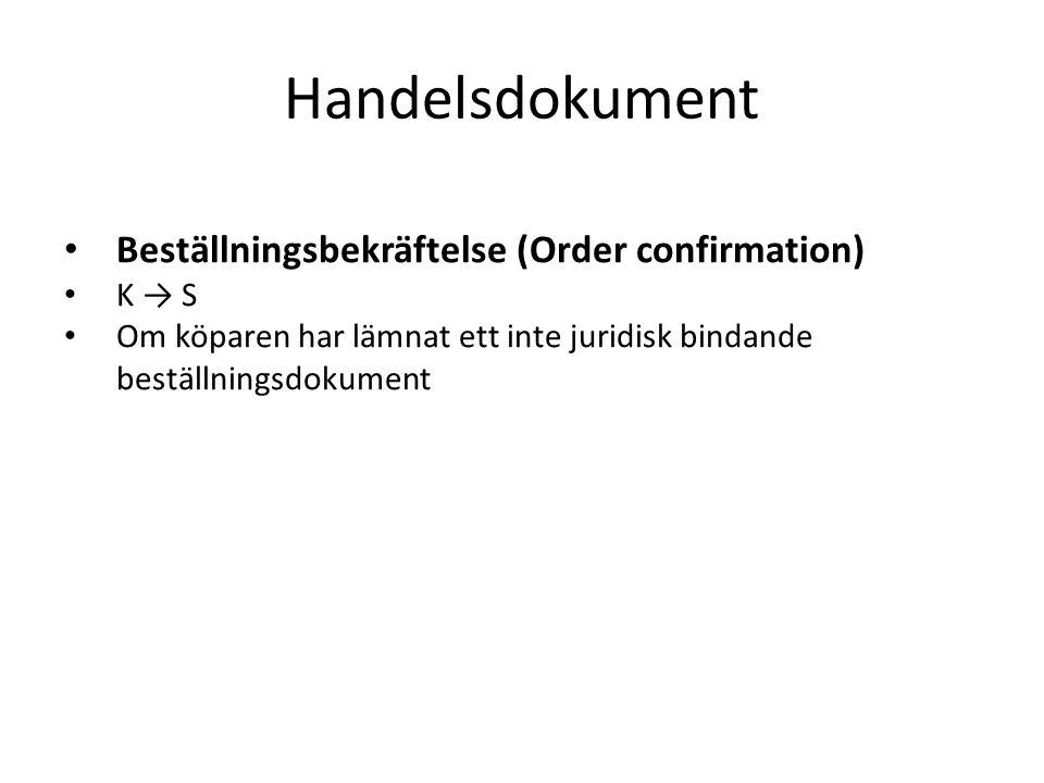 Handelsdokument Beställningsbekräftelse (Order confirmation) K → S