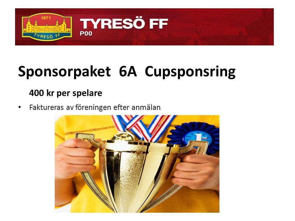 ö Sponsorpaket 6A Cupsponsring 400 kr per spelare
