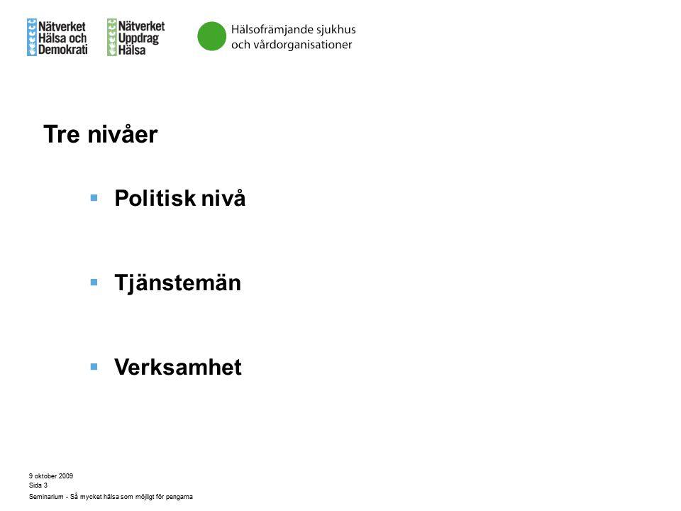Tre nivåer Politisk nivå Tjänstemän Verksamhet 9 oktober 2009