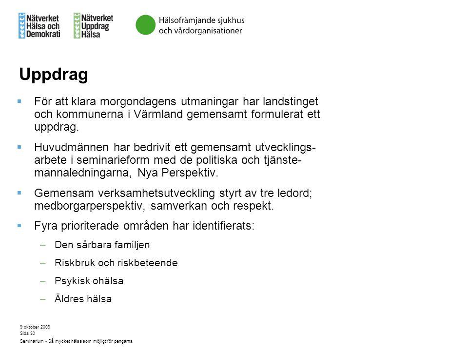 Uppdrag För att klara morgondagens utmaningar har landstinget och kommunerna i Värmland gemensamt formulerat ett uppdrag.