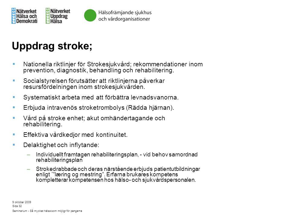 Uppdrag stroke; Nationella riktlinjer för Strokesjukvård; rekommendationer inom prevention, diagnostik, behandling och rehabilitering.