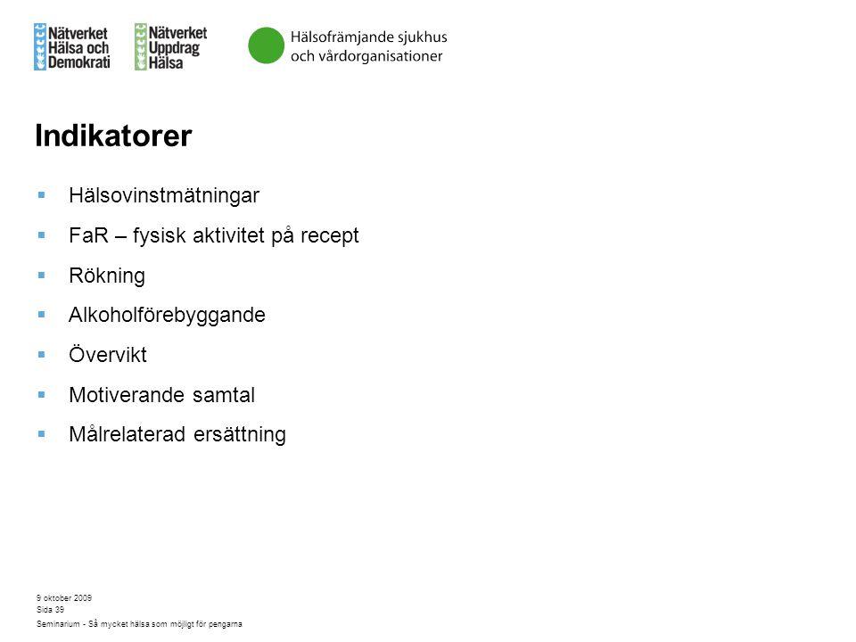 Indikatorer Hälsovinstmätningar FaR – fysisk aktivitet på recept