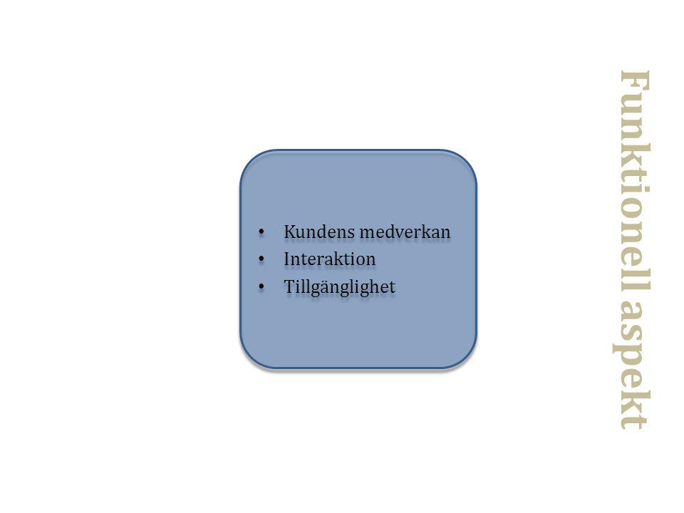 Funktionell aspekt Kundens medverkan Interaktion Tillgänglighet
