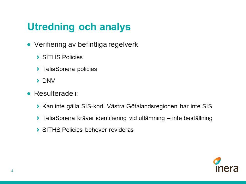 Utredning och analys Verifiering av befintliga regelverk