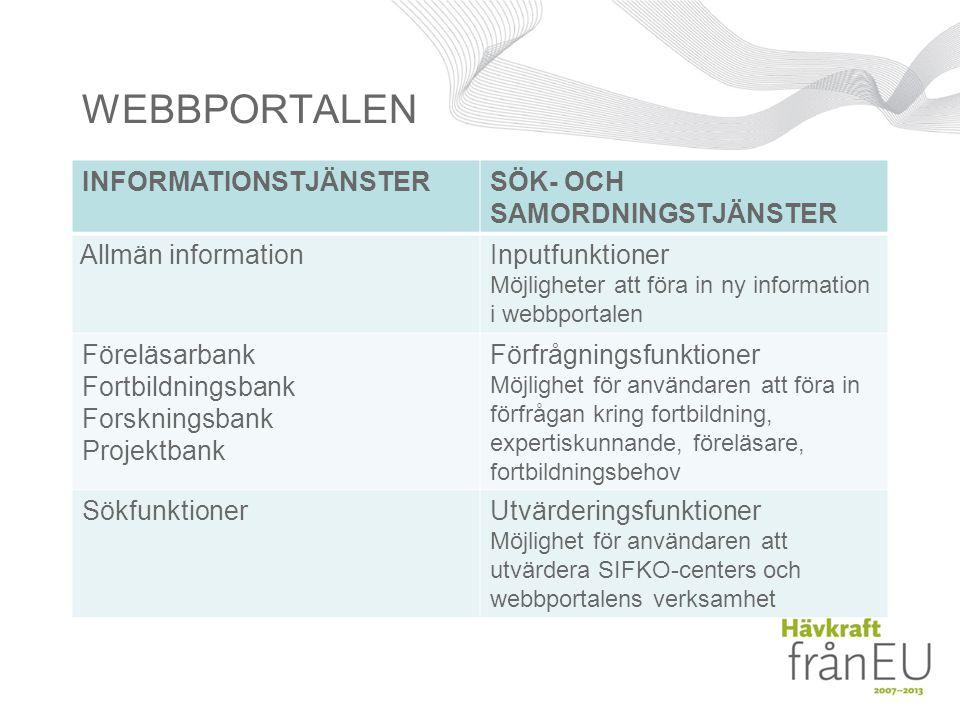 WEBBPORTALEN INFORMATIONSTJÄNSTER SÖK- OCH SAMORDNINGSTJÄNSTER