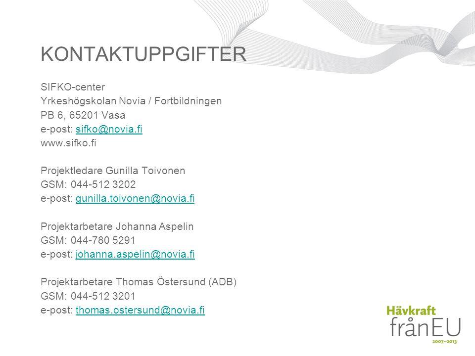 KONTAKTUPPGIFTER SIFKO-center Yrkeshögskolan Novia / Fortbildningen