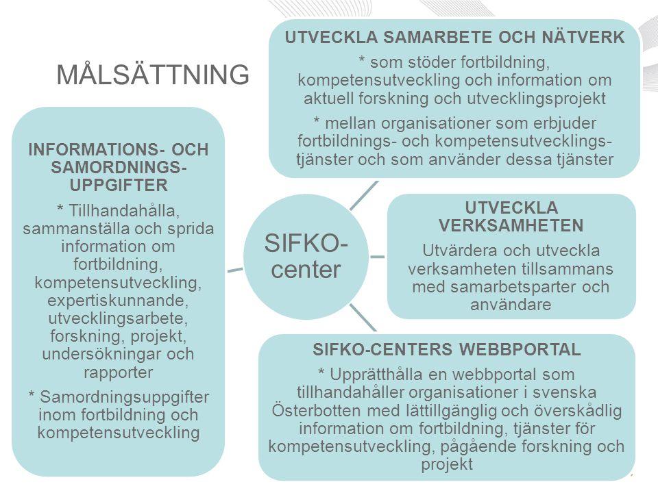 MÅLSÄTTNING SIFKO-center INFORMATIONS- OCH SAMORDNINGS-UPPGIFTER