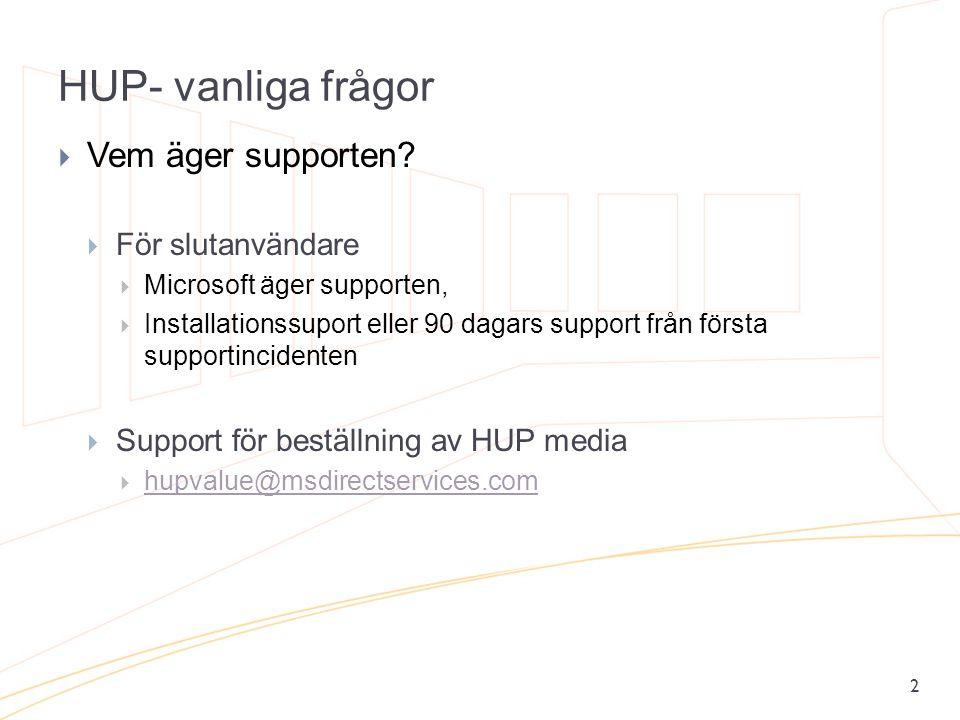 HUP- vanliga frågor Vem äger supporten För slutanvändare