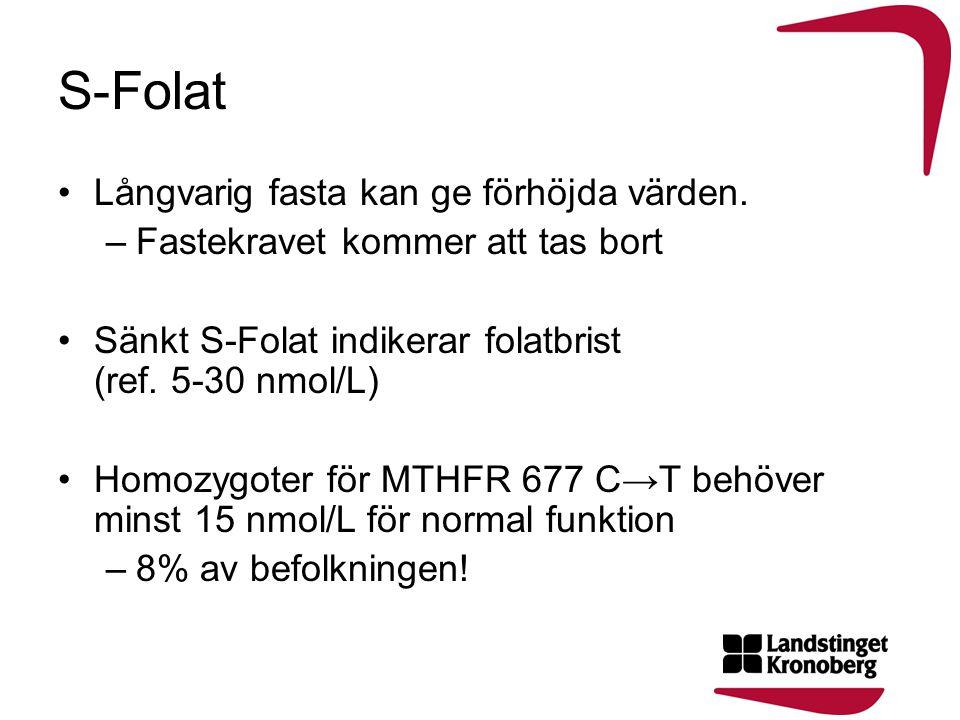 S-Folat Långvarig fasta kan ge förhöjda värden.