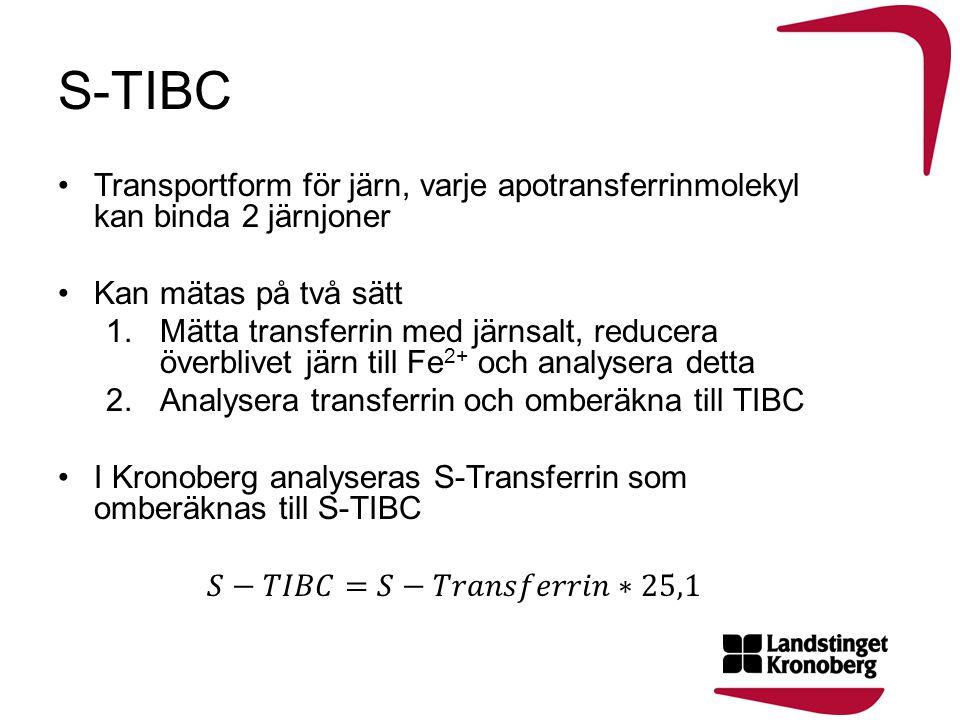 S-TIBC Transportform för järn, varje apotransferrinmolekyl kan binda 2 järnjoner. Kan mätas på två sätt.