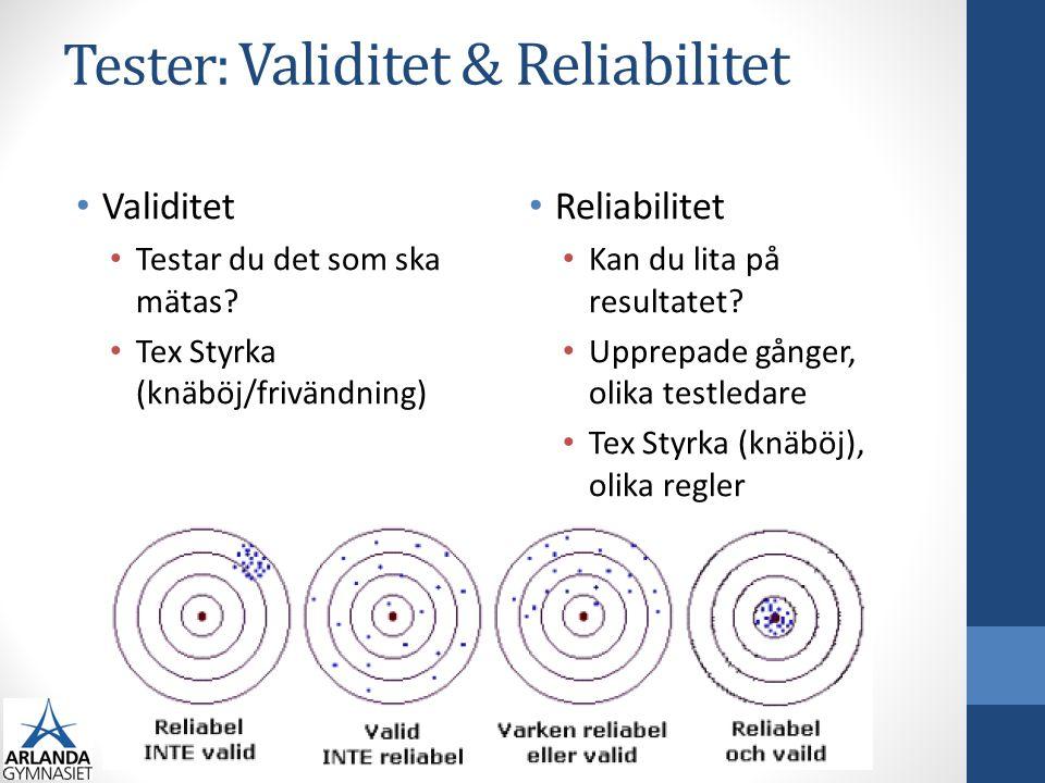 Tester: Validitet & Reliabilitet