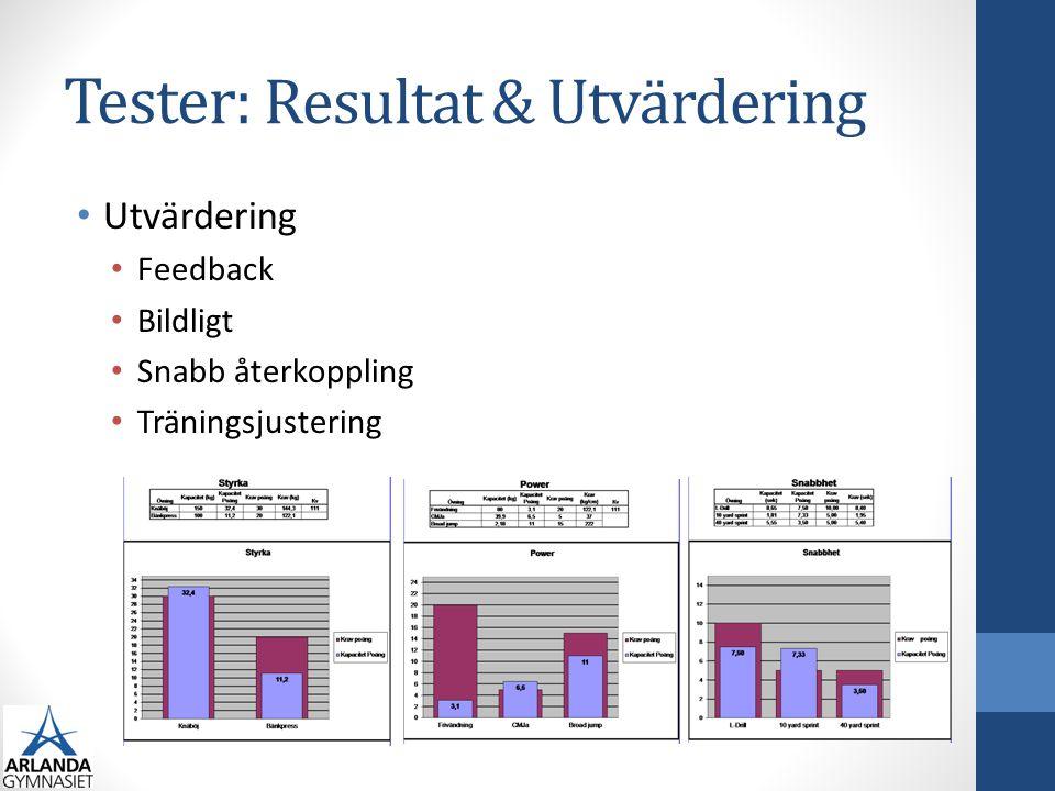 Tester: Resultat & Utvärdering