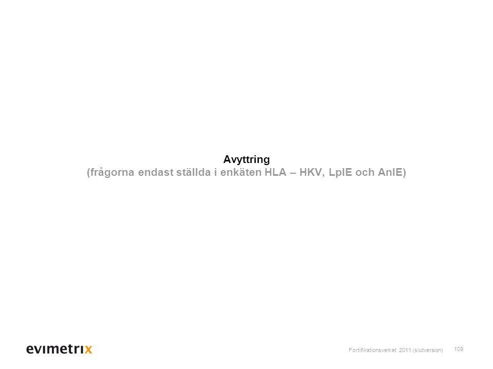 Avyttring (frågorna endast ställda i enkäten HLA – HKV, LplE och AnlE)