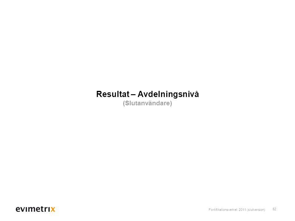 Resultat – Avdelningsnivå (Slutanvändare)