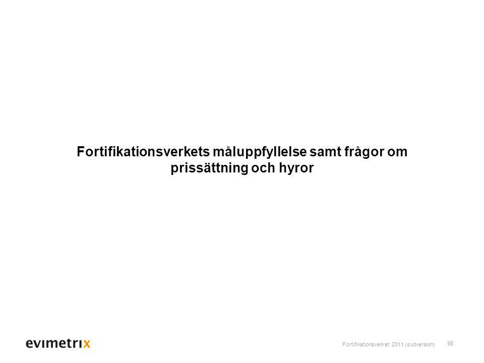 Fortifikationsverkets måluppfyllelse samt frågor om prissättning och hyror