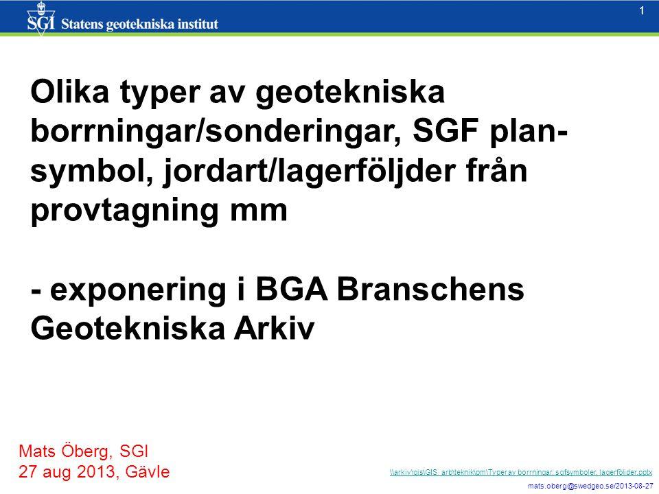 - exponering i BGA Branschens Geotekniska Arkiv