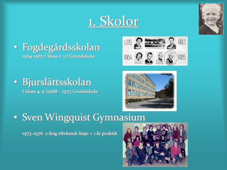 1. Skolor Fogdegårdsskolan 1964-1967 ( klass 1-3 ) Grundskola