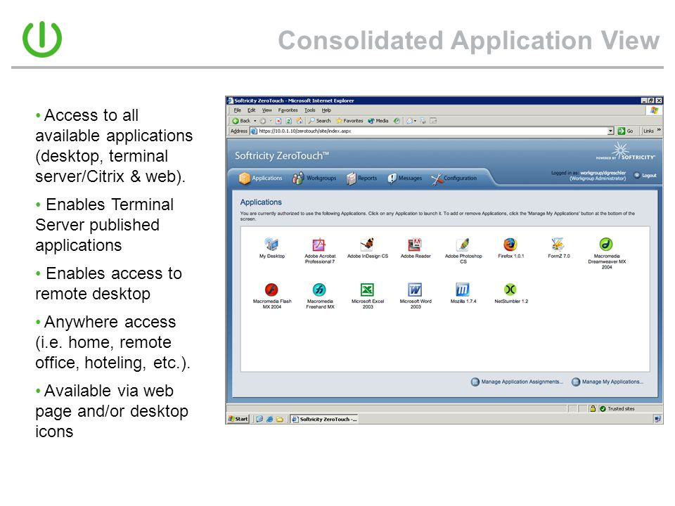 Consolidated Application View