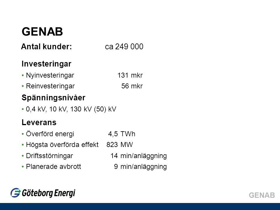 GENAB Antal kunder: ca 249 000 Investeringar Spänningsnivåer Leverans
