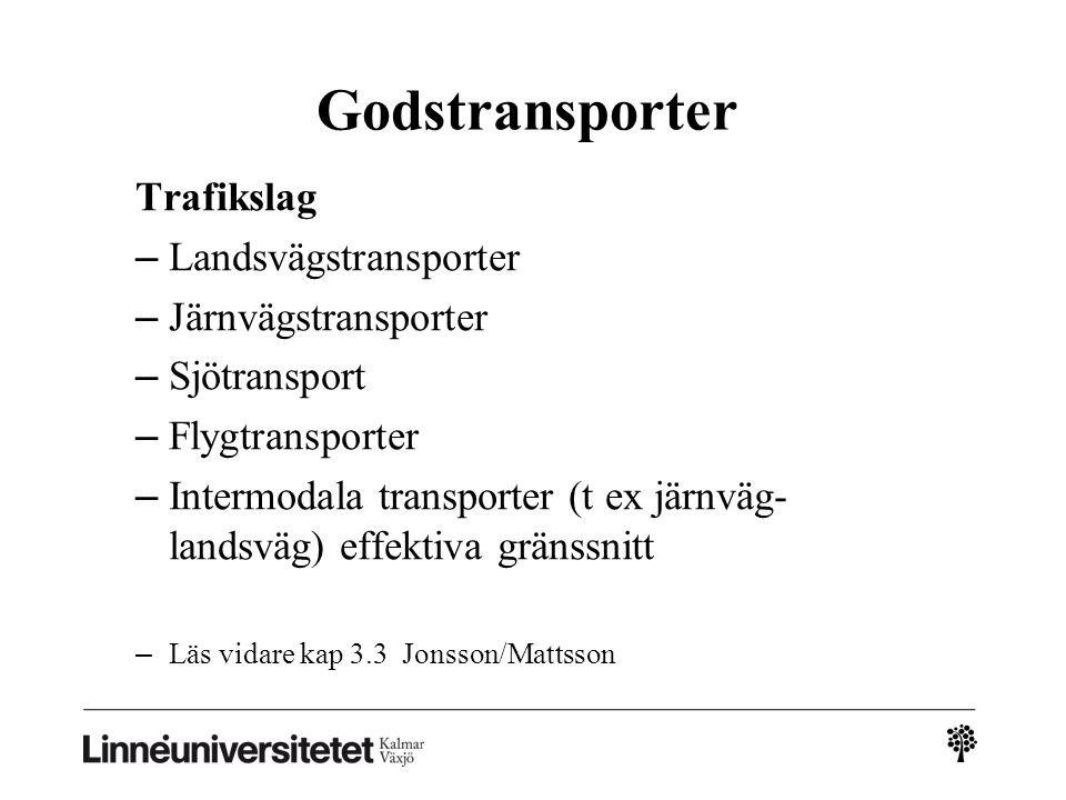 Godstransporter Trafikslag Landsvägstransporter Järnvägstransporter