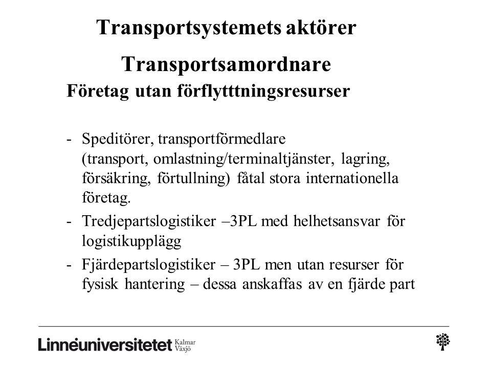Transportsystemets aktörer Transportsamordnare