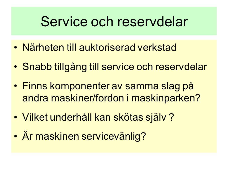 Service och reservdelar