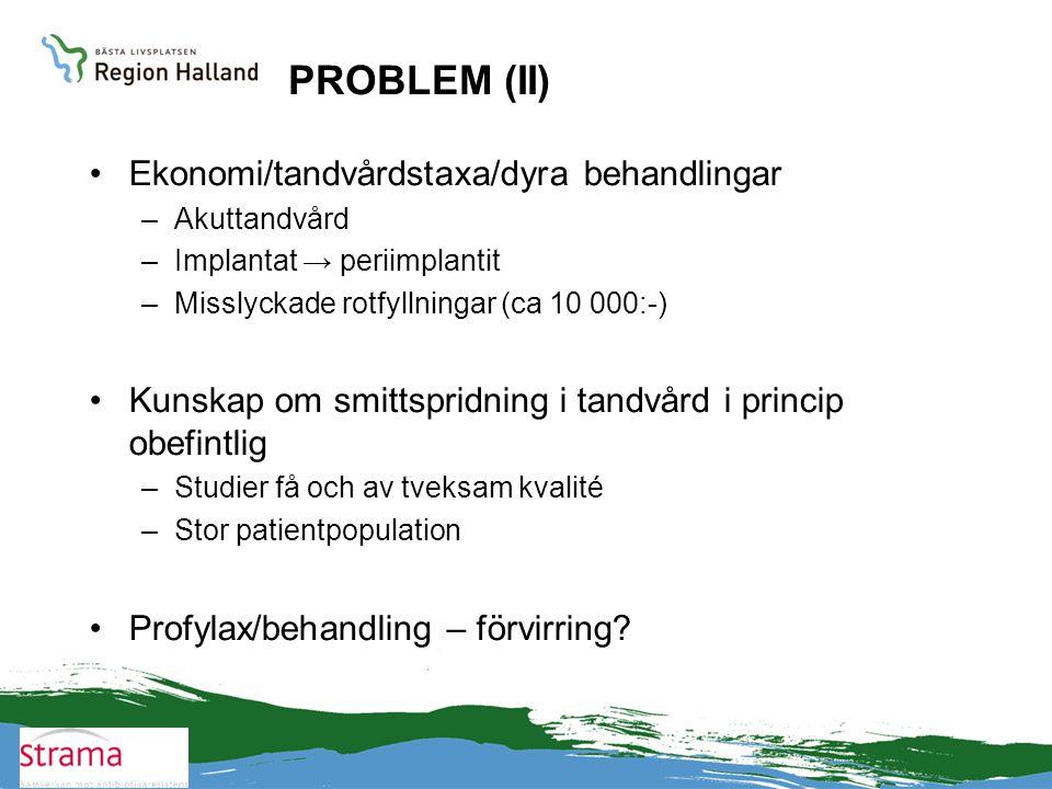 PROBLEM (II) Ekonomi/tandvårdstaxa/dyra behandlingar