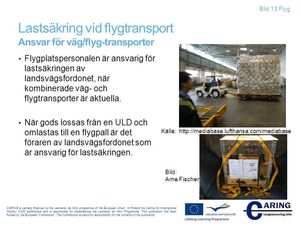 Lastsäkring vid flygtransport Ansvar för väg/flyg-transporter