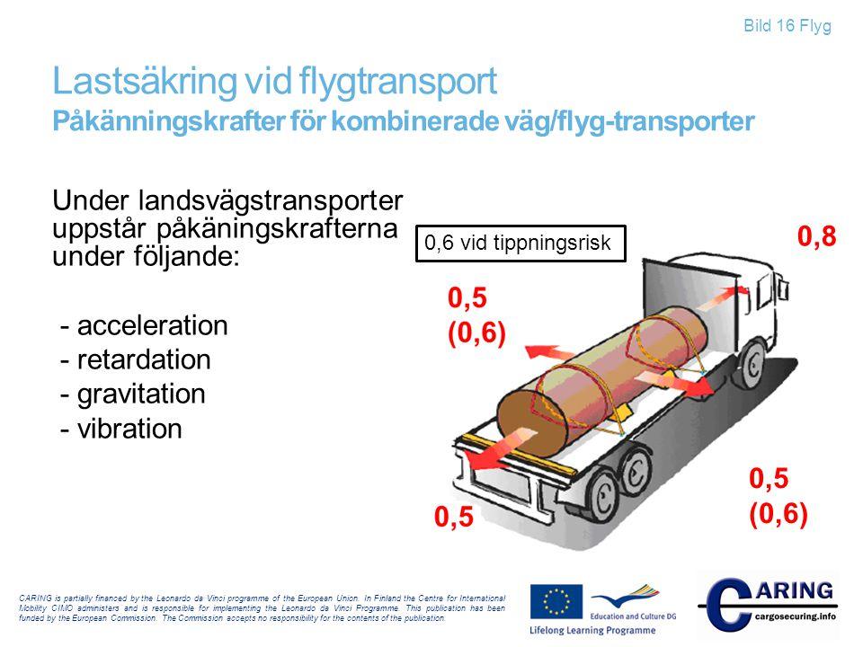Lastsäkring vid flygtransport Påkänningskrafter för kombinerade väg/flyg-transporter