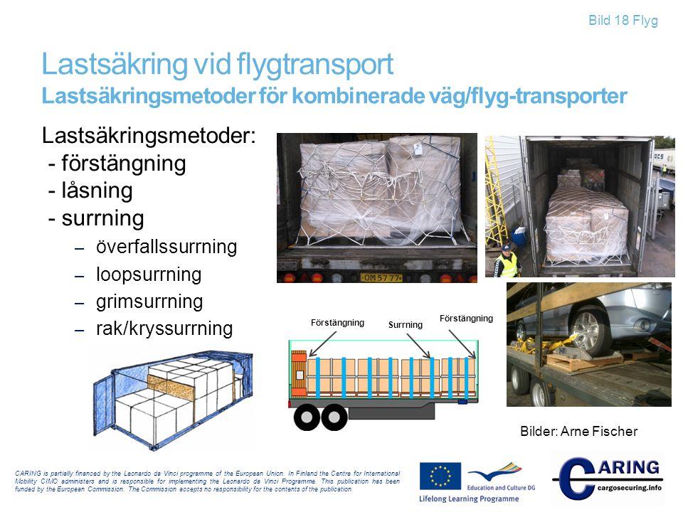 Lastsäkring vid flygtransport Lastsäkringsmetoder för kombinerade väg/flyg-transporter
