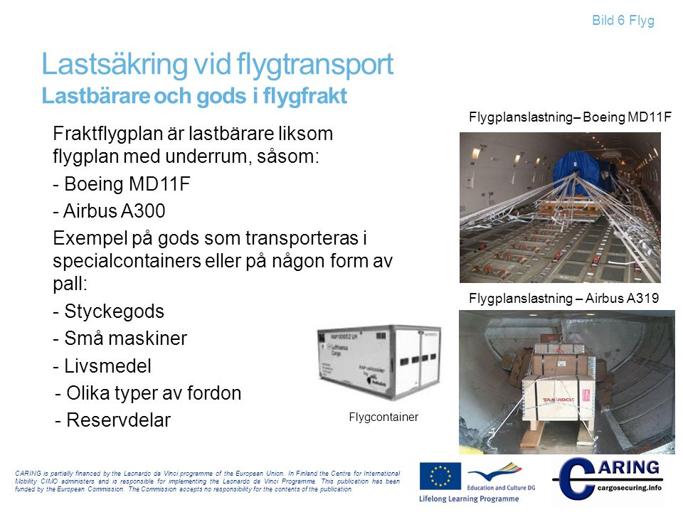 Lastsäkring vid flygtransport Lastbärare och gods i flygfrakt
