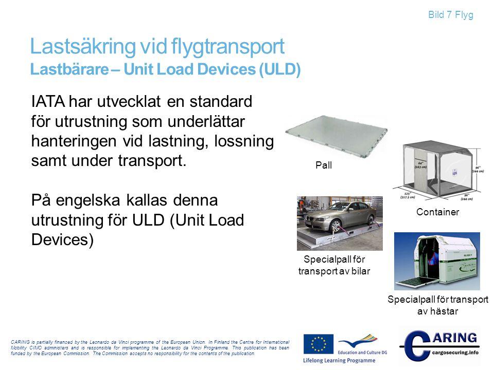 Lastsäkring vid flygtransport Lastbärare – Unit Load Devices (ULD)