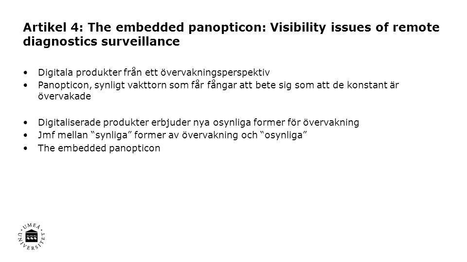 Artikel 4: The embedded panopticon: Visibility issues of remote diagnostics surveillance