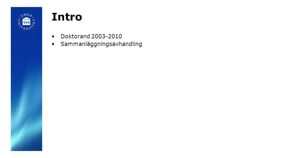 Intro Doktorand 2003-2010 Sammanläggningsavhandling