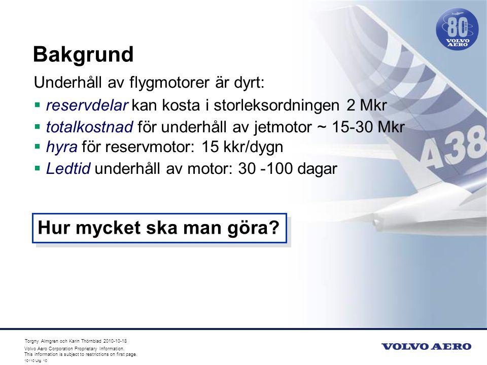 Bakgrund Hur mycket ska man göra Underhåll av flygmotorer är dyrt: