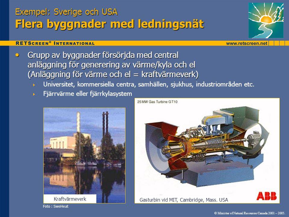 Exempel: Sverige och USA Flera byggnader med ledningsnät