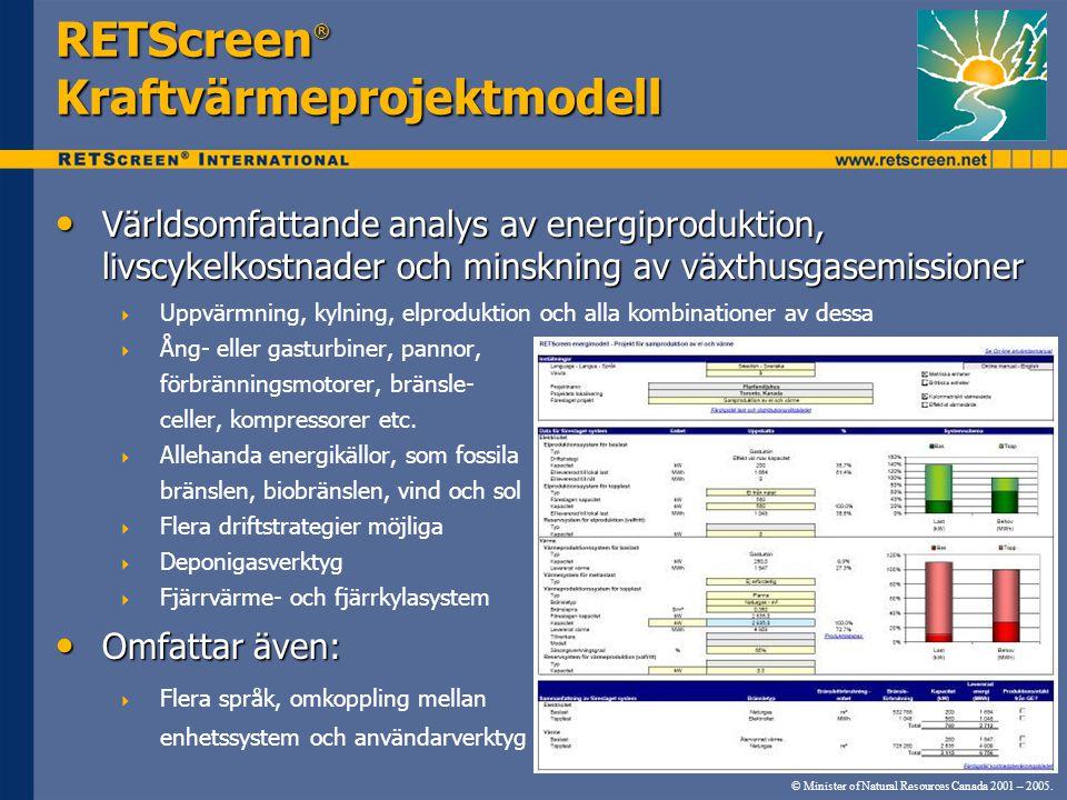 RETScreen® Kraftvärmeprojektmodell