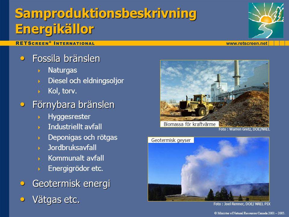 Samproduktionsbeskrivning Energikällor