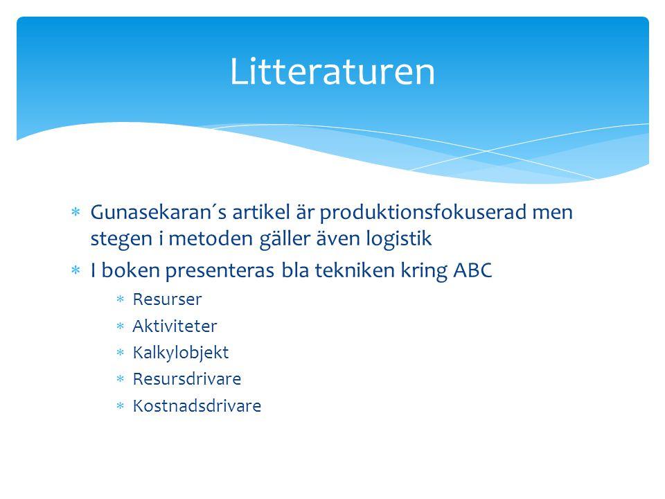 Litteraturen Gunasekaran´s artikel är produktionsfokuserad men stegen i metoden gäller även logistik.