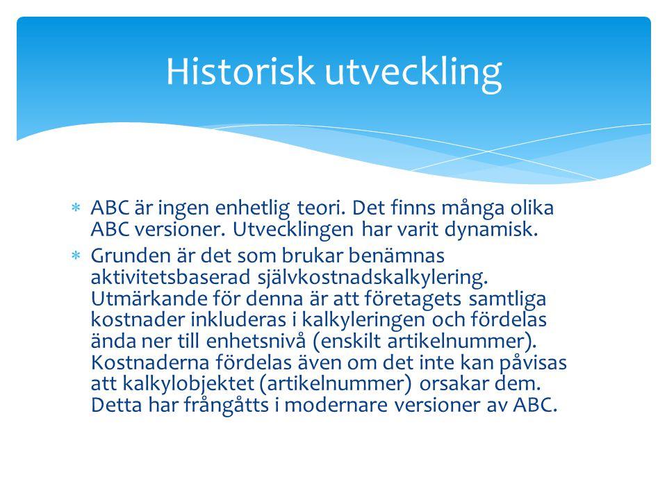 Historisk utveckling ABC är ingen enhetlig teori. Det finns många olika ABC versioner. Utvecklingen har varit dynamisk.