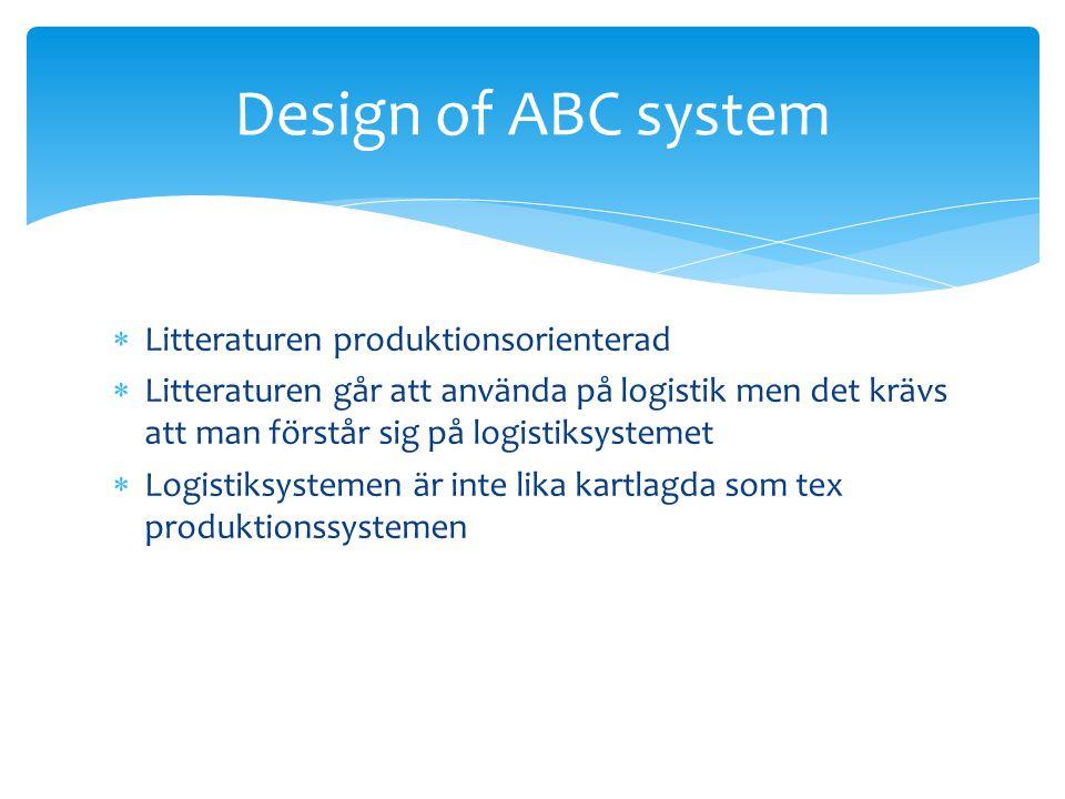 Design of ABC system Litteraturen produktionsorienterad