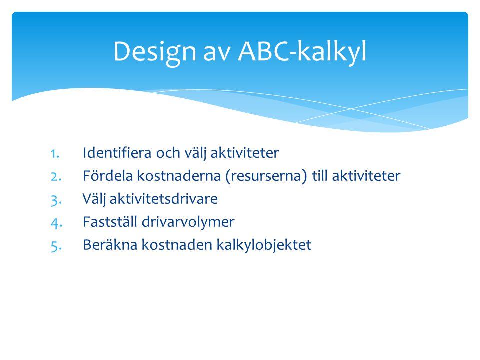 Design av ABC-kalkyl Identifiera och välj aktiviteter