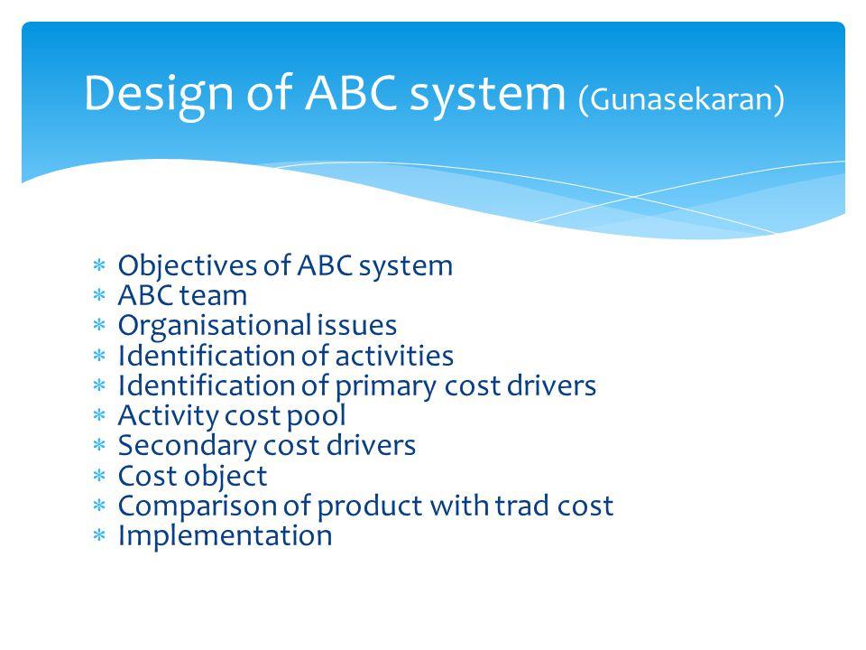 Design of ABC system (Gunasekaran)