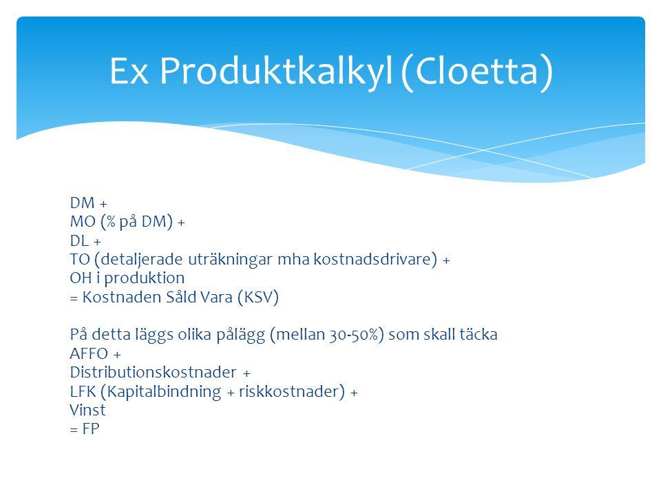 Ex Produktkalkyl (Cloetta)