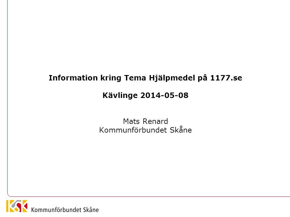 Information kring Tema Hjälpmedel på 1177.se
